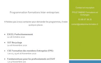 LES FORMATIONS INTER ETABLISSEMENTS 2020 – Contactez-nous pour vous inscrire !